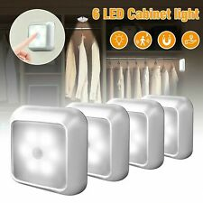 6 LED Night Light Motion Sensor Wall Closet Cabinet Stair Wireless White Lamp A+