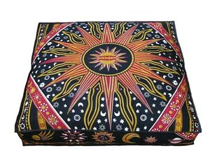 """Indian Cotton Pouf Cover 35""""X35"""" Inches Meditation Handmade Square Seating Cover"""