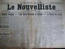 WW1 OFFENSIVE FRANCAISE MORT Col MOURET LE NOUVELLISTE DE LYON 11/9/1914