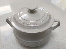 Le Creuset Stoneware Large Casserole, Bean / Soup Pot, White, 3.8L