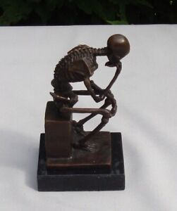 Art Nouveau Style Statue Sculpture The Thinker Art Deco Style Bronze Signed