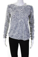 Joie  Womens Crew Neck Long Sleeve Sweater Grey White Size Small