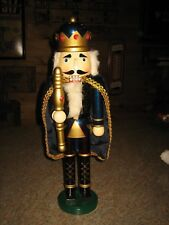 """LARGE 20"""" TALL WOODEN KING WITH JEWEL CROWN NUTCRACKER-CHRISTMAS HOME DECOR"""