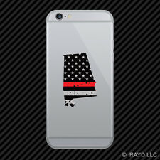 Distressed Alabama State Shaped Subdued US Flag Thin Red Line Cell Phone Sticker