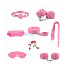 8pcs  Restraint Set Gag Whip Cuffs Rope Blindfold Collar Kinky Bondage Toy PINK