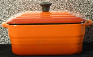 VINTAGE RECTANGULAR SMALL SIZED CAST IRON LIDDED ORANGE & RED CASSEROLE DISH