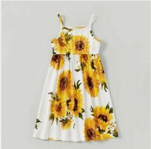 size 2y to 8 years new girls dress sunflower print midi tank dress -select size