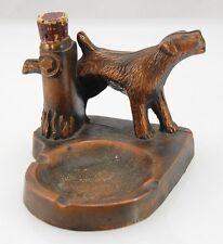 Old Bronze Wash Dog Hydrant Match Holder Ashtray Combo