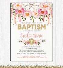 Girl Baptism Invitation Pink Gold Boho Floral Dreamcatcher Christening Invite