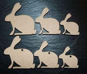 laser cut bunny rabbit EASTER Embellishments mdf Craft 40,50,60 mm