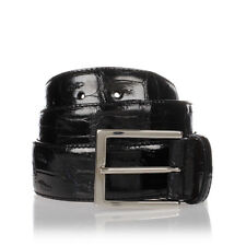 MEN'S BELT REAL SKIN OF CROCODILE BLACK MADE IN ITALY 120cm/4cm