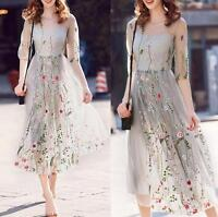 Womens Embroidery Flower Short Sleeve Dress Evening Party Cocktail Maxi Dress