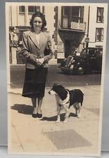 Vintage Black & White Photograph 1950's Woman w/ Dog in Beach Town
