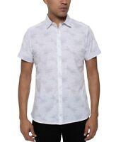 Kenneth Cole Mens Shirt White Size XL Button Down Galaxy Printed $69 #164