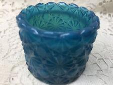 Blue Milk glass Daisy Button salt dip cellar celt toothpick holder slag / marble