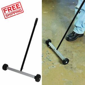 Magnetic Sweeper Broom Yard Grass Floor Rolling Nail Pickup Wheeled Roller Tool
