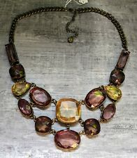 Ann Taylor LOFT Bezel Set Glass Rhinestone Bib Statement Necklace Amethyst Color