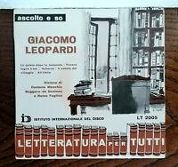 "CREPAX ART COVER GIACOMO LEOPARDI 7"" POESIE & INSERTO FERNANDO PALAZZI ANNI 60'S"