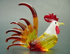 Glass COCKEREL CHICKEN HEN ROOSTER Bird Painted Glass Ornament Glass Animal Gift