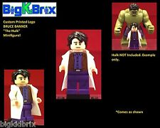BRUCE BANNER Custom Printed & Inspired Lego Marvel Minifigure The Hulk