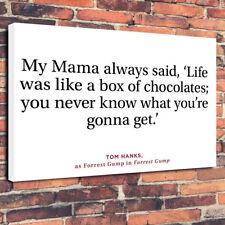 """""""la vie était comme une boîte de chocolats"""" Forrest Gump Photo sur toile A1.30""""x20"""" 30 mm"""