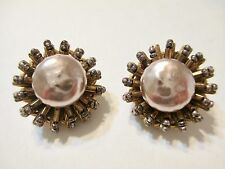 MIRIAM HASKELL CREAMY CHOCOLATE BAROQUE PEARL GLASS BEADED CLUSTER CLIP EARRINGS