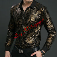 Men Printing Fashion Long Sleeve Front Botton Shirts Slim Fit Pleuche Casual New