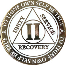 2 Year AA Medallion Reflex Glow In The Dark Gold Plated Sobriety Chip Coin II
