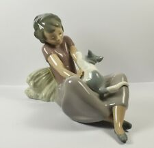Lovely Large Lladro Nao Figure ~ Girl Sitting With Cat ~ 02010313