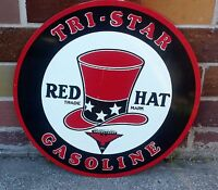 "Red Hat Tri-Star Gasoline Sign 25.5"" Gas Station Cabin Man Cave Home Farm Decor"