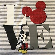 Mickey Mouse Love T-Shirt Disney Store XL Gray/White Striped Glitter Red V-Neck