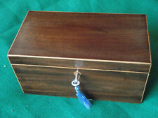 More details for exquisitely plain mahogany tea caddy or keepsake box