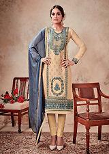 PALEYELO SATIN COTTON INDIAN SALWAR KAMEEZ SUIT DRESS MATERIAL w EMBR LADIES DEN