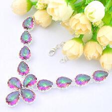 Huge Rainbow Fire Mystical Fire Topaz  Gemstone Silver Necklace 21 3/ Inch
