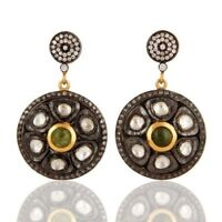 18k Gold Plated 925 Sterling Silver Green Tourmaline Crystal Quartz CZ Earrings