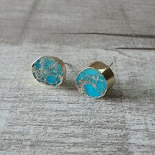 Raw Turquoise Stud Earrings Gold Plated Blue 12x11mm