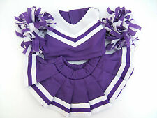 "PURPLE CHEERLEADER OUTFIT WITH POMPOMS & KNICKERS FITS 8 TO 10"" (20CM)  BEARS"