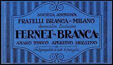 PUBBLICITA' 1922 FERNET BRANCA APERITIVO AMARO TONICO DIGESTIVO MILANO DRINK