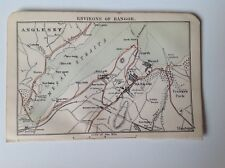 North Wales, Environs Bangor,Anglesey,1889 Antique Street Map, Bartholomew Atlas