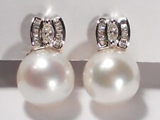 12mm South Sea white pearl earrings,diamonds,solid 18k white gold.