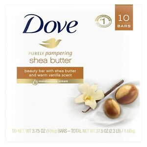 Dove Purely Pampering Beauty Bar Shea Butter 3.75 oz 10 Bars.