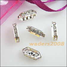 12 New Connectors Rhinestone 2 Hole Rhombic Spacer Bars Silver Plated 4.5x10.5mm