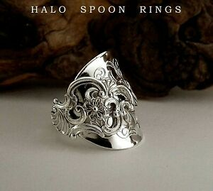 STUNNING SOLID SILVER SPOON RING FANCY PATTERN PERFECT SUGAR ANNIVERSARY GIFT