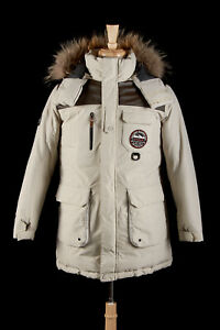 LOWE ALPINE Expedition Parka L in Stone Beige Down Fill Pertex Coated Nylon