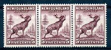 Weeda Newfoundland 190 F/VF MNH strip of 3, 5c violet brown Die I Caribou CV $47