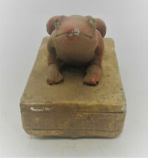 ANCIENT EGYPTIAN GLAZED STONE FROG STATUE WITH HIEROGLYPHICS