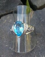 Ring mit Stein Blautopas Farbe + Zirkonia Silber 925 Größe 17 mm - 54 (228)