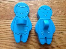 2 VINTAGE BLUE AVON BOY AND GIRL BLUE COOKIE CUTTERS SOAP MOLDS