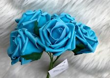 5 Turquoise PolyFoam Top Quality Rose 5/6cm Head Wedding Flower Table Decoration