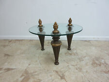 Vintage French Carved Plumes Glass Top Lamp End Table Pedestal Plant Stand